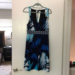 White House Black Market blue tropical dress